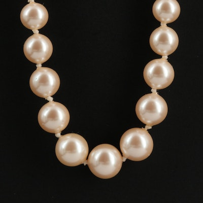 14K Hand Knotted Graduated Imitation Pearl Necklace