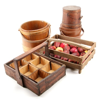 "Bench Made Wooden Crate with ""Firkin"" Buckets and Berry Picker Carrier"