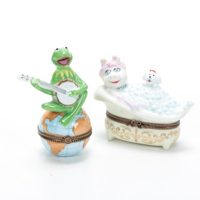 "Bernardaud for Henson Porcelain ""Miss Piggy"" and ""Kermit"" Limoge Boxes"