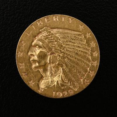 1929 Indian Head $2.50 Gold Quarter Eagle