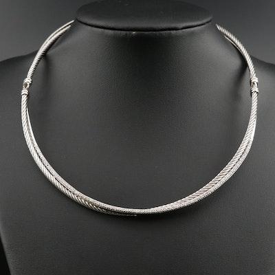 David Yurman 14K Diamond Setting on Sterling Necklace