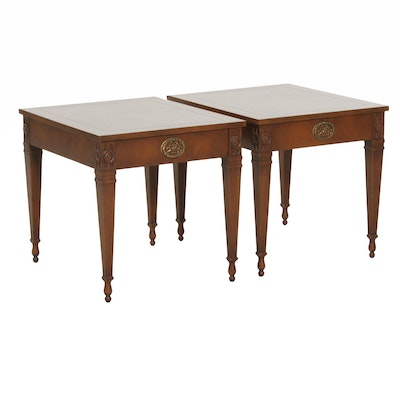 Pair of Baker Furniture Walnut End Tables, Late 20th Century