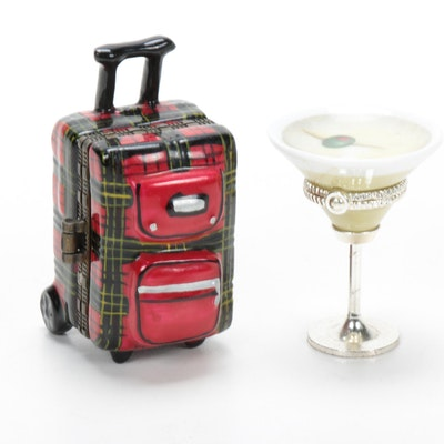 Martini Glass and Suitcase Porcelain Trinket Boxes