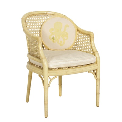 Cane and Rattan Armchair, Mid-20th Century