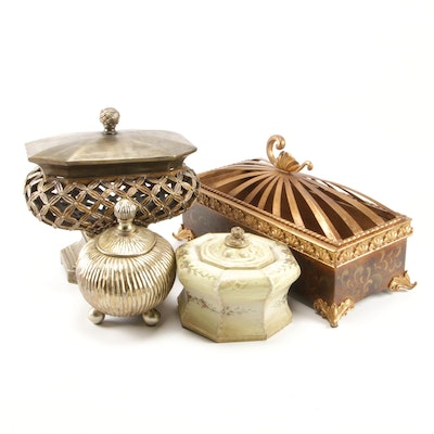Gold Tone Decorative Lidded Box Collection