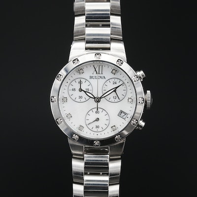 Bulova Maiden Lane Chronograph MOP and Diamond Stainless Steel Wristwatch