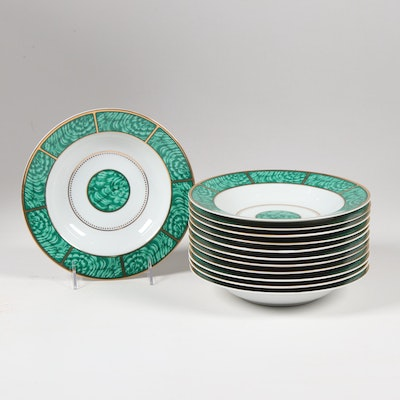 "Georges Briard ""Imperial Malachite"" Hand-Painted Porcelain Soup Bowls"