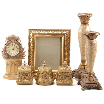 Gold Tone Foliate Pillar Candle Holders, Clock, and Other Table Top Décor