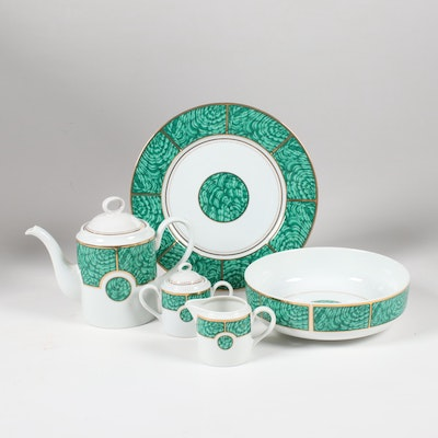 "Georges Briard ""Imperial Malachite"" Hand-Painted Tea Service and Serveware"