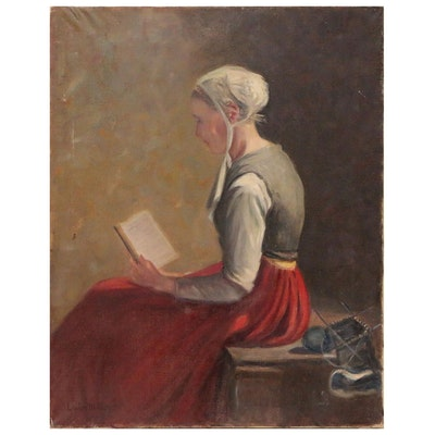 Louise M. Kamp Oil Painting of Woman Reading
