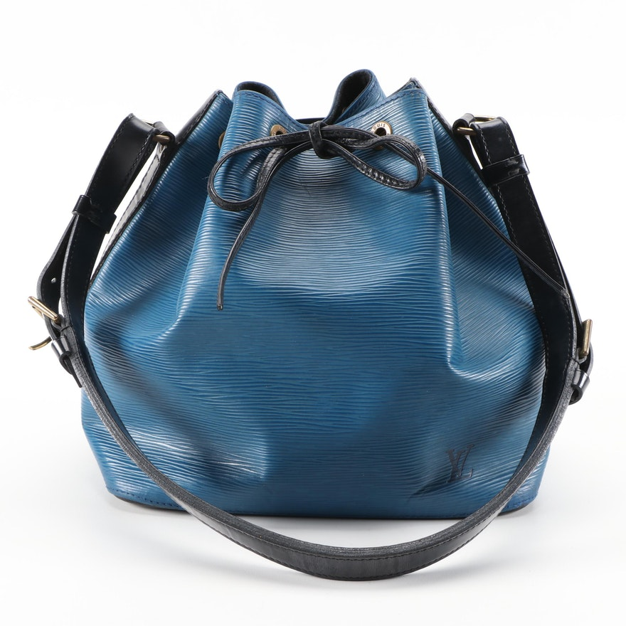 Louis Vuitton Noé Bag in Bicolor Epi Leather and Smooth Black Leather