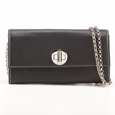 Tiffany & Co. Black Pebbled Leather City Wallet on Chain Clutch with Rolo Chain