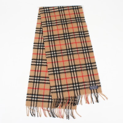 "Burberrys of London Cashmere ""Nova Check"" Fringed Scarf"
