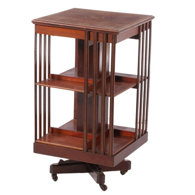 Edwardian Mahogany and Marquetry Revolving Bookcase, Early 20th Century