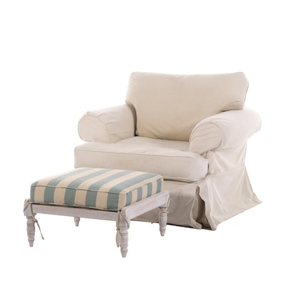 Ethan Allen Slipcovered Armchair with Ballard Designs Ottoman