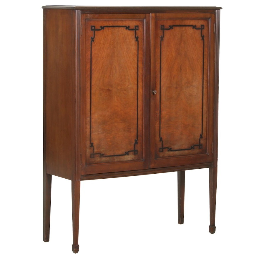 Colonial Revival Walnut China Cabinet, Early 20th Century