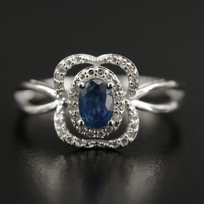 14K Gold Sapphire and Diamond Halo Ring