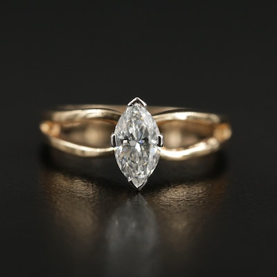 14K Gold 0.64 CT Diamond Solitaire Ring