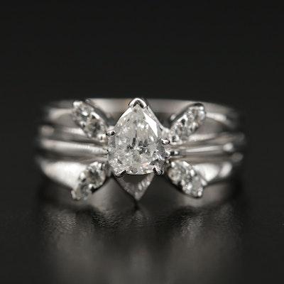 14K Gold Diamond Ring and Enhancer Band