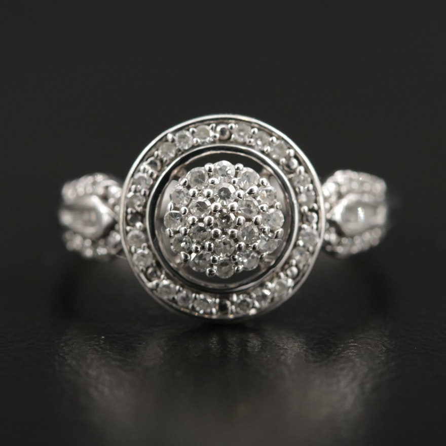 10K Gold Diamond Cluster Halo Ring