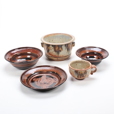 Tyrone Larson and Hart Stoneware Pottery Dinnerware and Planter