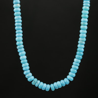 Beaded Turquoise Choker With 14K Yellow Gold Clasp