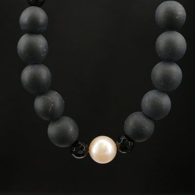 Pearl and Black Onyx Necklace with 14K Clasp