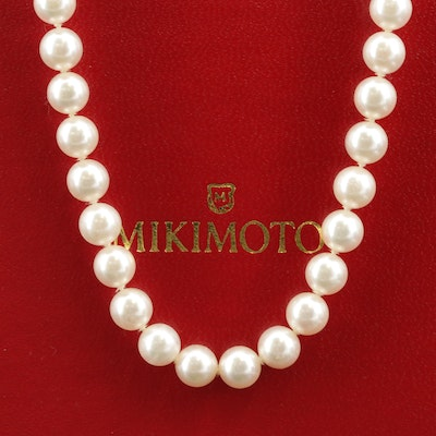 Mikimoto 18K Gold Pearl Necklace with Box