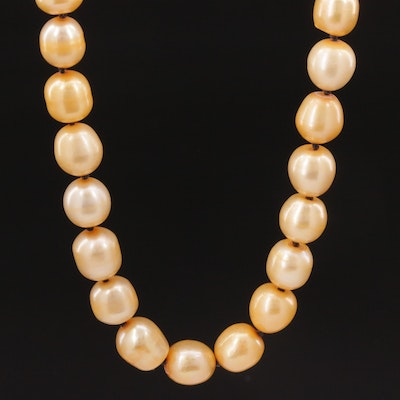 Hand Knotted Cultured Pearl Strand Necklace with 18K Gold Clasp