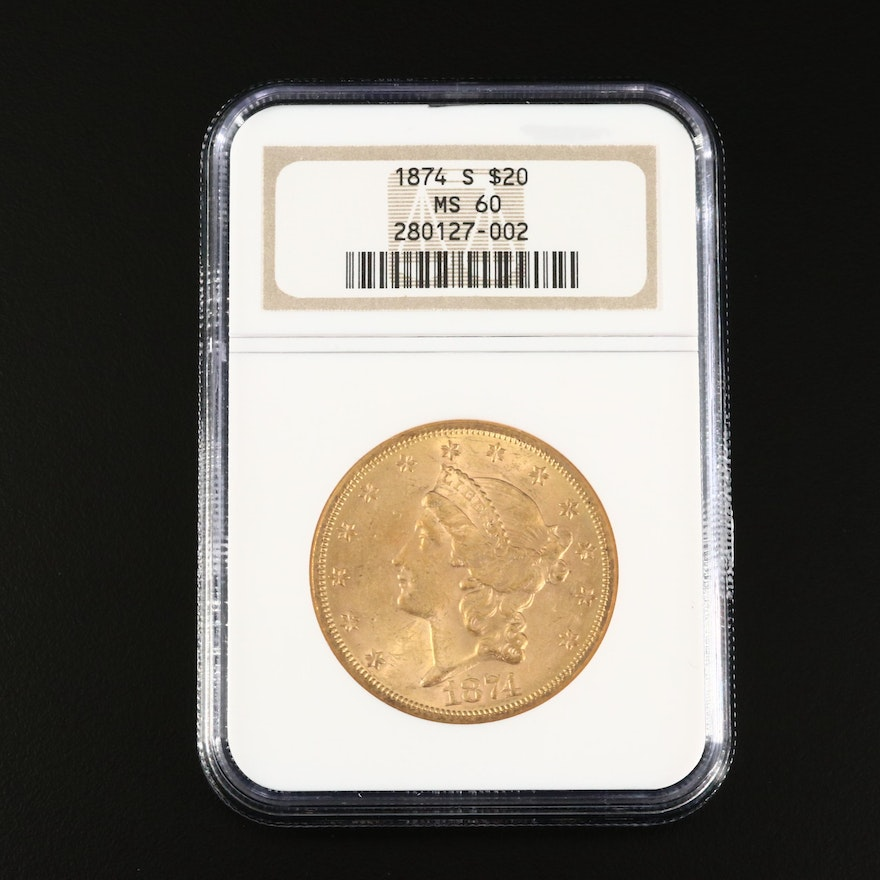 NGC Graded MS60 1874-S Liberty Head $20 Gold Double Eagle Coin