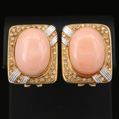 18K Coral and Diamond Button Earrings