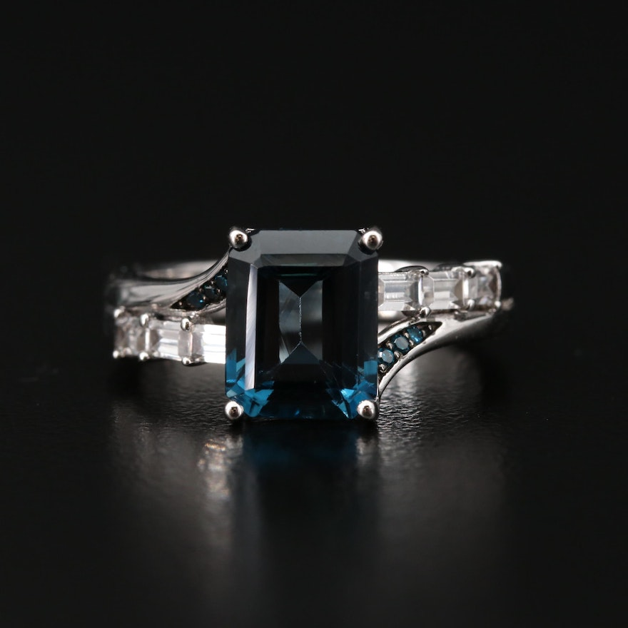 Sterling Silver Topaz and Cubic Zirconia Ring
