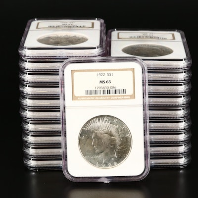 Twenty NGC Graded MS63 1922 Peace Silver Dollars