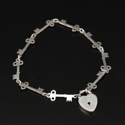 Sterling Silver Heart Lock Pendant Key Link Bracelet