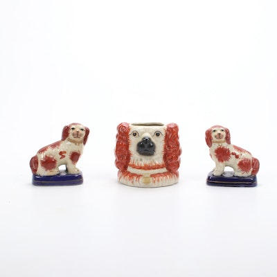 Staffordshire Style Spaniel Figurines and Tobacco Jar