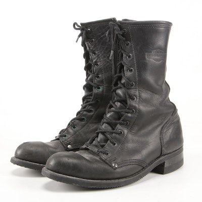 Harley-Davidson Black Leather Lace-Up Boots