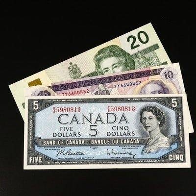 Three-Piece Type Set of Canadian Uncirculated Banknotes