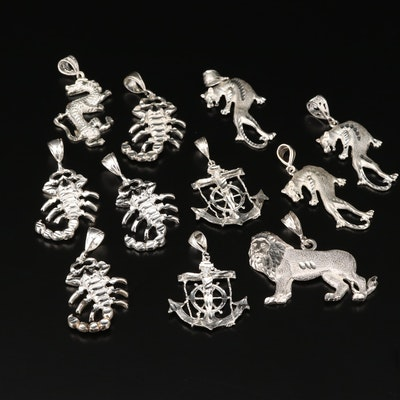 Assortment of Diamond Cut Sterling Silver Pendants Including Several Scorpions