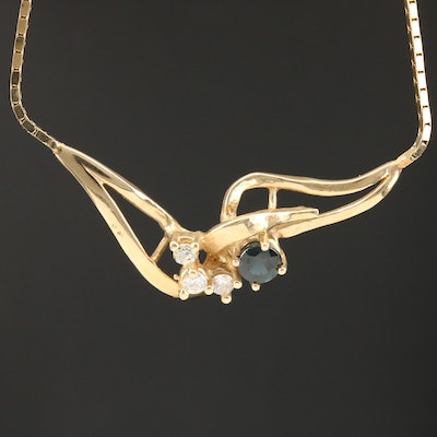 14K Sapphire and Diamond Necklace