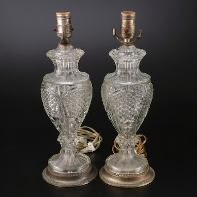 Pair of Pressed Glass Table Lamps