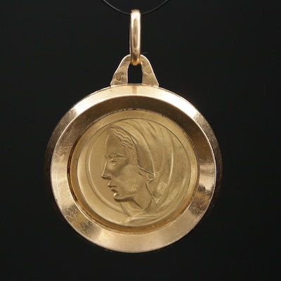 18K Yellow Gold Mother Mary Medallion or Pendant