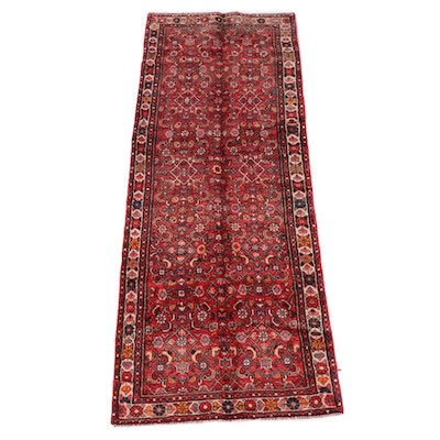 3'7 x 9'9 Hand-Knotted Persian Hamadan Wool Long Rug