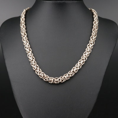 Sterling Silver Flat Byzantine Chain