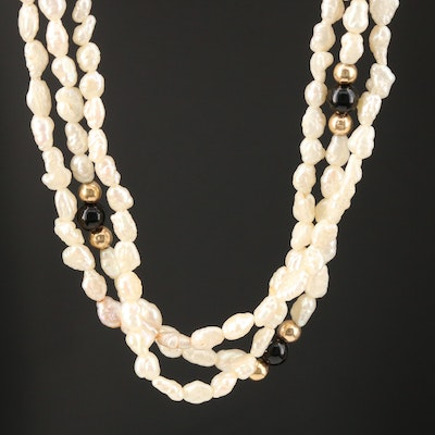 Pearl and Black Onyx Torsade Necklace with 14K Accents