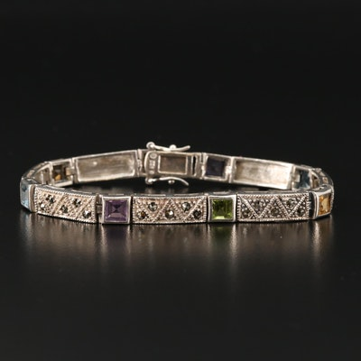 Sterling Silver Bracelet with Amethyst, Citrine and Topaz