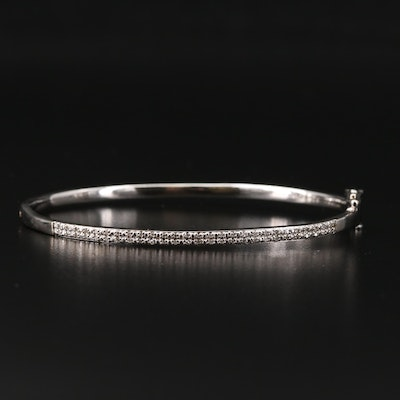 Sterling Silver Diamond Hinged Bangle Bracelet