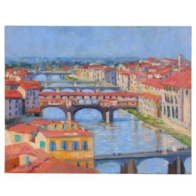 "Nino Pippa Oil Painting ""Tuscany - Florence River Arno"", 2013"