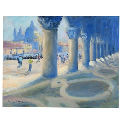 """Nino Pippa Oil Painting """"Venice - Doge's Palace Colonnade"""", 2017"""
