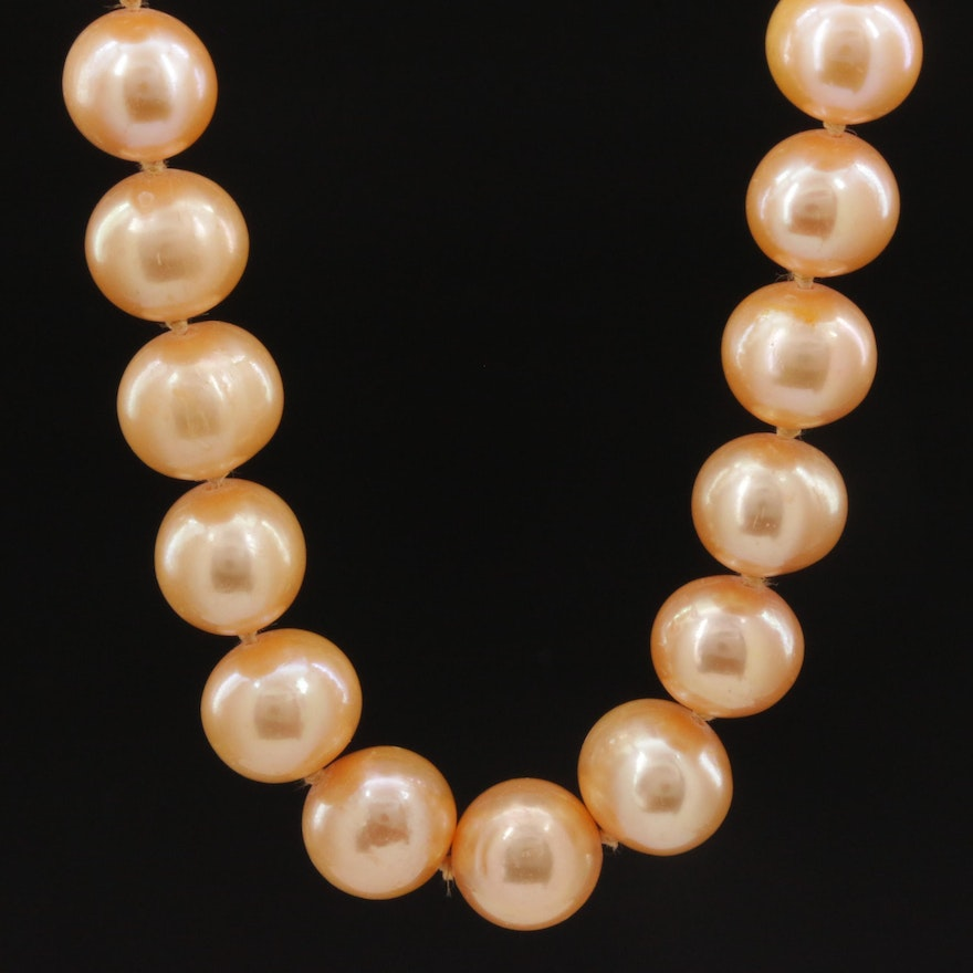 Knotted Cultured Pearl Strand Necklace With 14K Gold Clasp