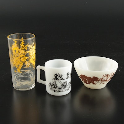 Hazel Atlas and Other Davy Crockett Themed Glasses and Bowl